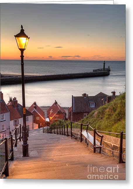 Whitby Greeting Cards - Whitby Steps - Orange Glow Greeting Card by Martin Williams