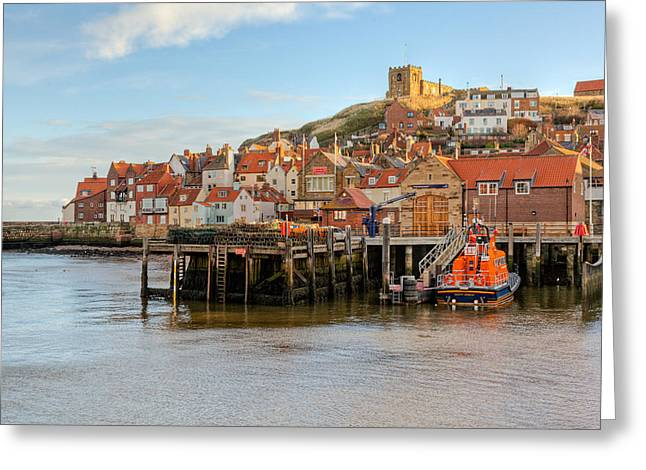 Abbey Giclee Print Greeting Cards - Whitby town Greeting Card by Gary Finnigan
