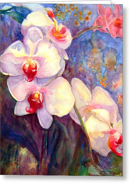 Reproducciones Tropicales Greeting Cards - White and Fuchsia Orchids Greeting Card by Estela Robles