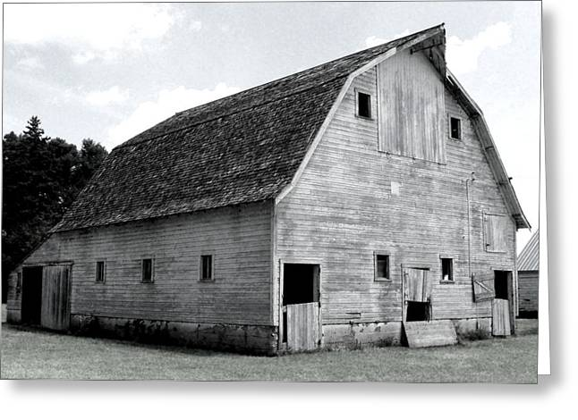 Painted Wood Greeting Cards - White Barn Greeting Card by Julie Hamilton