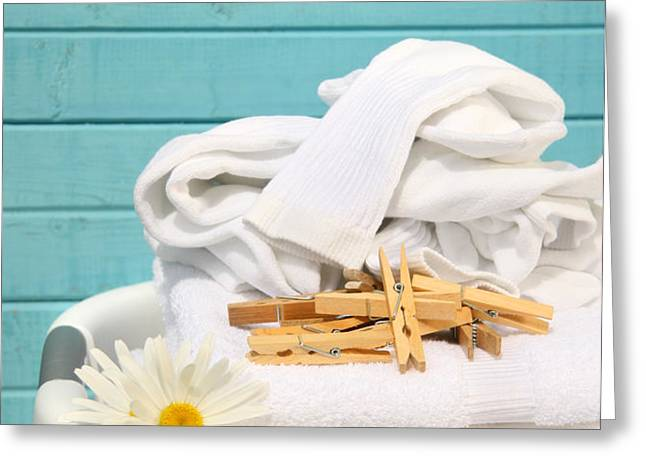 White  basket with laundry Greeting Card by Sandra Cunningham
