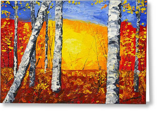 Birch Grove Greeting Cards - White Birch Tree Abstract Painting In Autumn Greeting Card by Keith Webber Jr