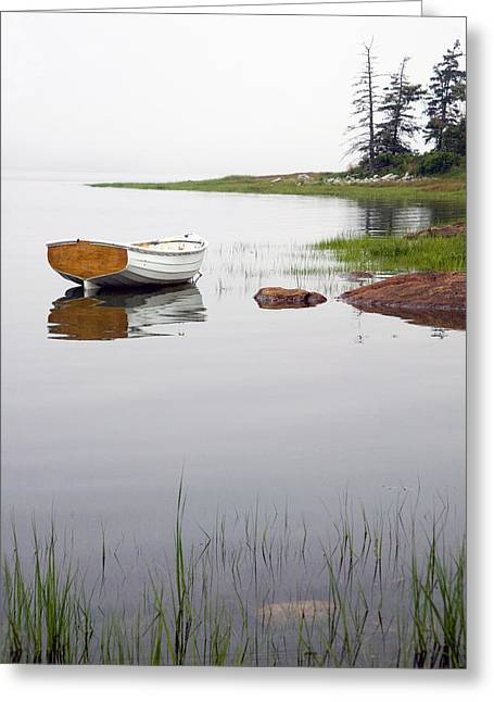 Maine Beach Greeting Cards - White boat along the shore at Mount Desert Island in Maine Greeting Card by Randall Nyhof