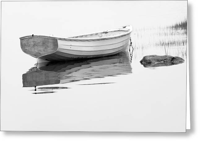 Row Boat Greeting Cards - White Boat anchored on a foggy morning in Maine Greeting Card by Randall Nyhof