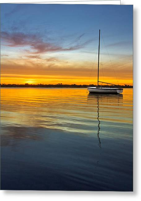 Yellow Sailboats Greeting Cards - White Boat Greeting Card by Debra and Dave Vanderlaan