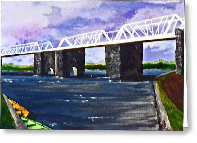 Water Based Oils Mixed Media Greeting Cards - White Bridge   Greeting Card by Roberto Edmanson-Harrison