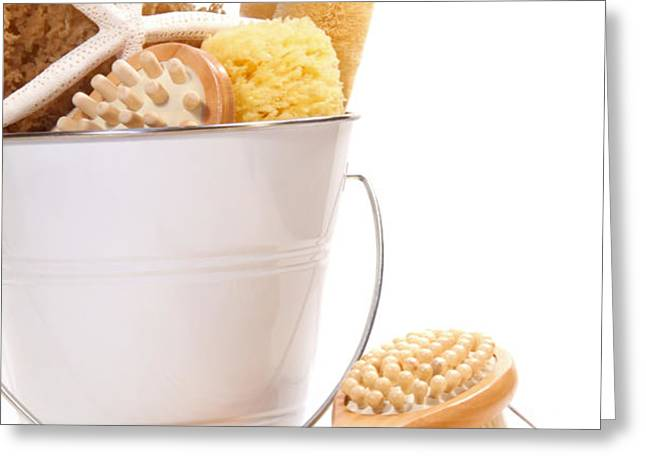 White bucket filled with sponges and scrub brushes  Greeting Card by Sandra Cunningham
