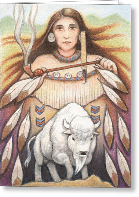 Amy S Turner Greeting Cards - White Buffalo Woman Greeting Card by Amy S Turner