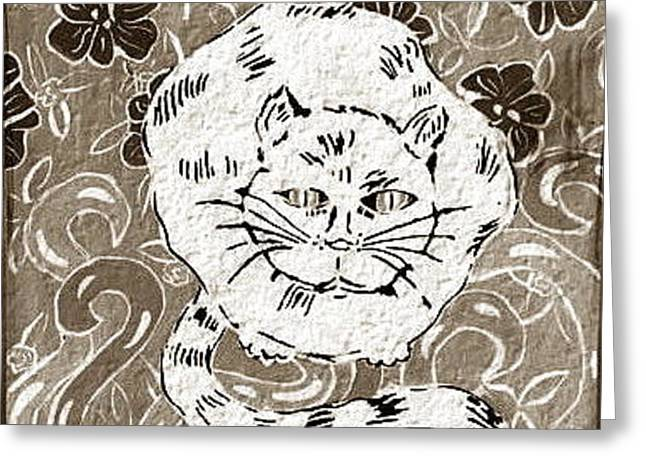 Best Sellers -  - Print Ceramics Greeting Cards - White Cat In Flower Bed Greeting Card by Patricia Lazar