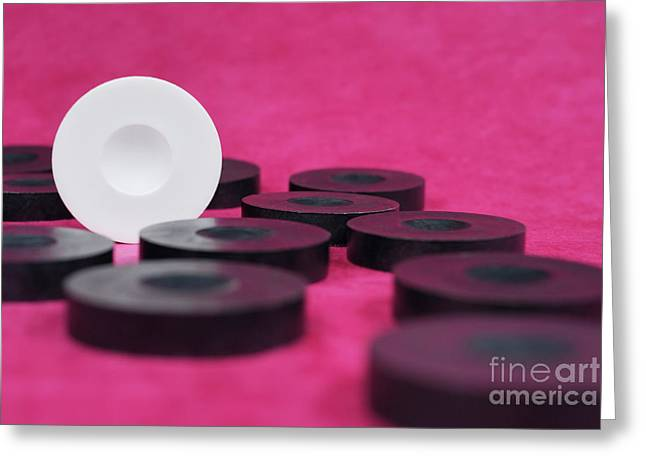 White Checkers Pawn Standing Amongst Black Pawns Greeting Card by Sami Sarkis