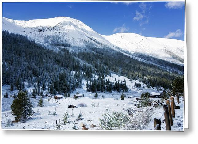 Mountain Cabin Greeting Cards - White Christmas Greeting Card by Joan Carroll