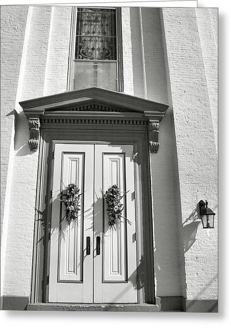 Framed Old Door Print Greeting Cards - White Church And White Door I Greeting Card by Steven Ainsworth