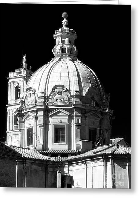 Cupola Greeting Cards - White Church Greeting Card by John Rizzuto