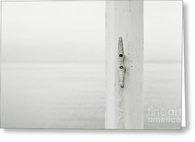 Foggy Beach Greeting Cards - White Cleat on a Flagpole Greeting Card by Ned Frisk