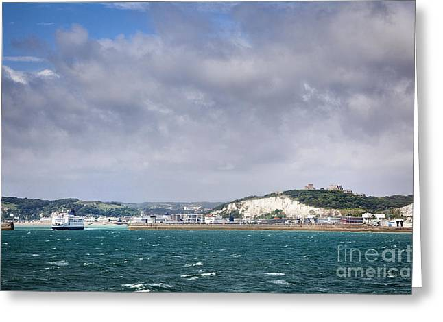 Port Kent Greeting Cards - White Cliffs of Dover and Port Entrance, England Greeting Card by Jon Boyes
