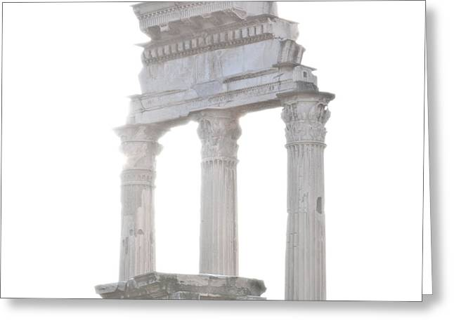 Pollux Greeting Cards - WHITE COLUMNS temple of Castor and Pollux in the Forum Rome Italy Greeting Card by Andy Smy