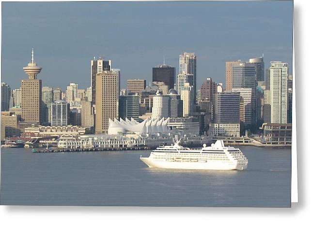 City Scapes Greeting Cards Greeting Cards - White Cruise Ship Greeting Card by Eric Hansen