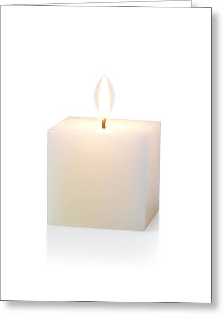 Votive Candles Greeting Cards - White Cubic Candle Greeting Card by Atiketta Sangasaeng