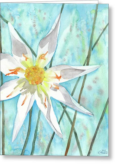 Dahlia Greeting Cards - White Dahlia Greeting Card by Ken Powers