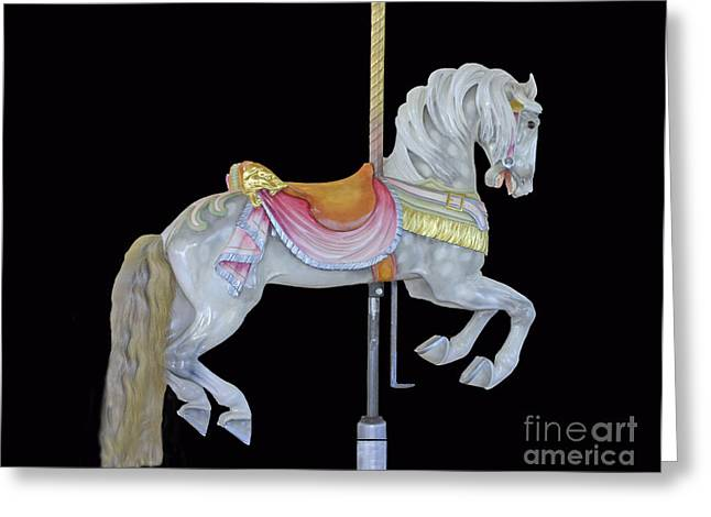 Print Greeting Cards - White Dappled Carousel Horse Greeting Card by Cindy Lee Longhini