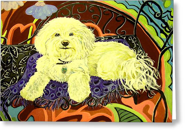 Small Ceramics Greeting Cards - White Dog in garden Greeting Card by Patricia Lazar