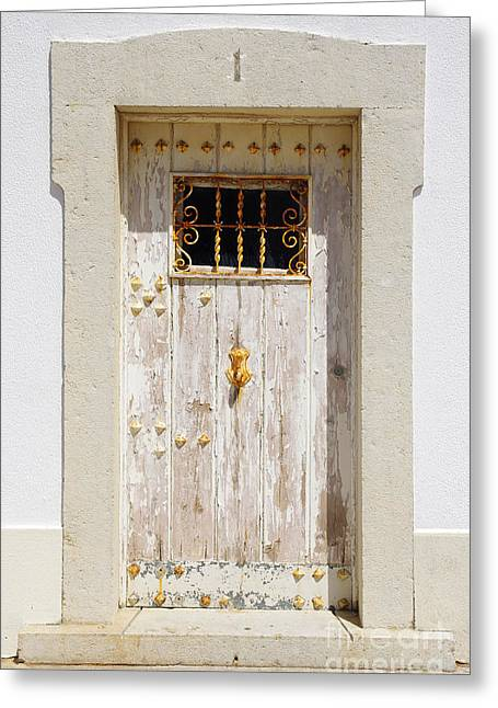 Abstract Style Greeting Cards - White Door Greeting Card by Carlos Caetano