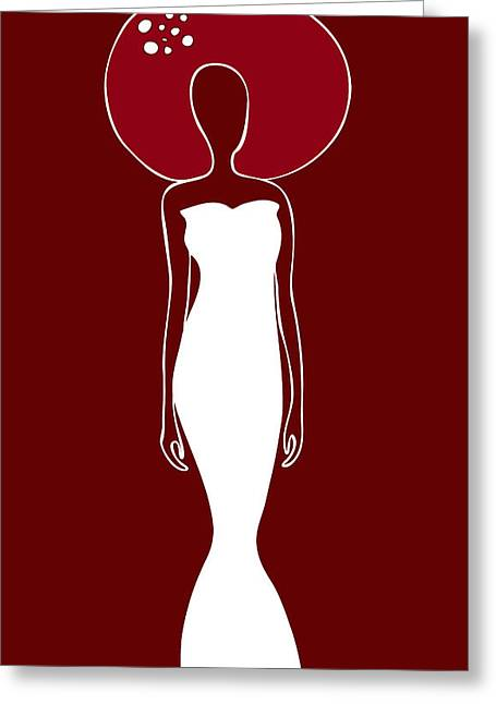 Woman Head Greeting Cards - White Dress Greeting Card by Frank Tschakert