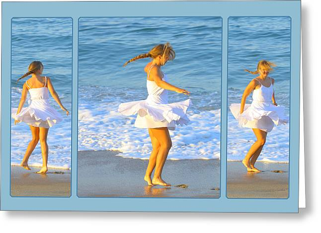 Dancing On The Beach Greeting Cards - White Dress on Beach Greeting Card by Randy Steele