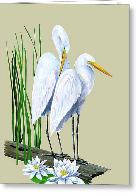 Kevin Brant Greeting Cards - White Egrets and White Lillies Greeting Card by Kevin Brant