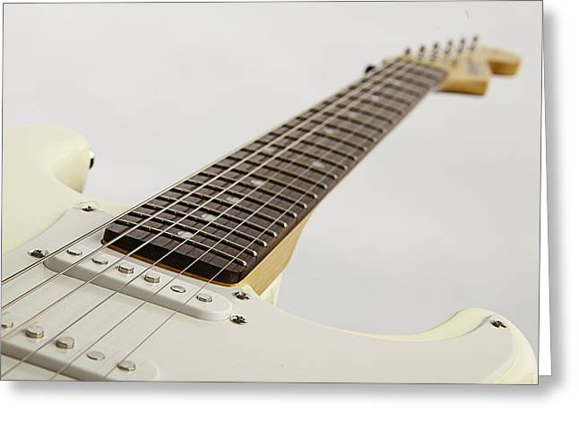 Guitar Pictures Greeting Cards - White Electric Guitar on White Greeting Card by M K  Miller