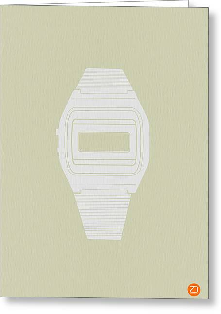 White Electronic Watch Greeting Card by Naxart Studio