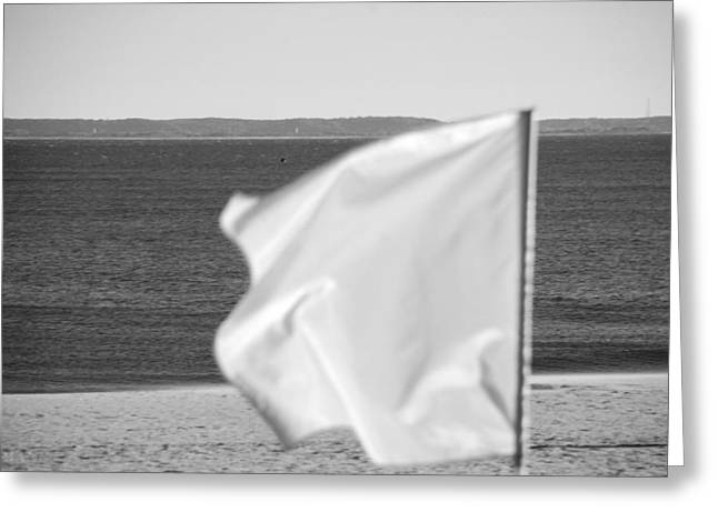 York Beach Greeting Cards - WHITE FLAG in BLACK AND WHITE Greeting Card by Rob Hans