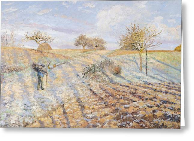 White Paintings Greeting Cards - White Frost Greeting Card by Camille Pissarro
