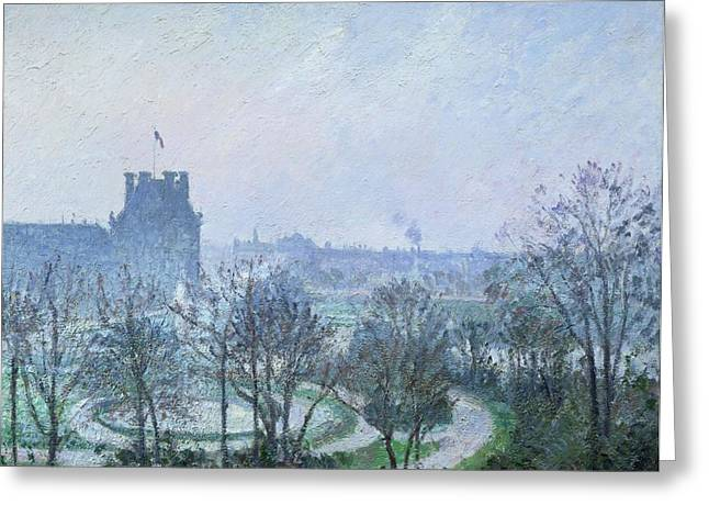 Blanche Greeting Cards - White Frost Jardin des Tuileries Greeting Card by Camille Pissarro