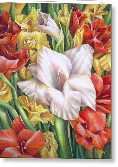 Glass Vase Greeting Cards - White Gladiolus Close Up Greeting Card by Nancy Tilles