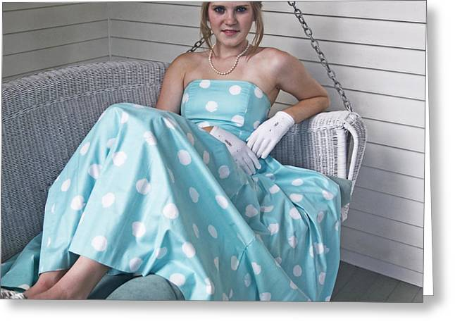 Strapless Dress Greeting Cards - White Gloves and Pearls Greeting Card by Cheri Randolph