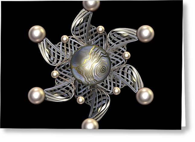 White Gold and Pearls Greeting Card by Hakon Soreide