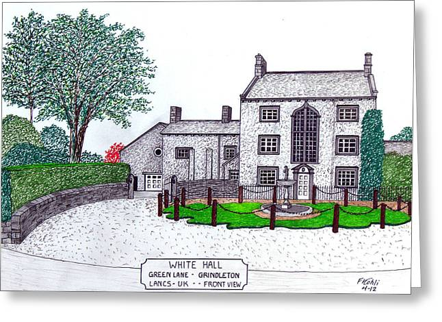 Historic Home Mixed Media Greeting Cards - White Hall  - Front View Greeting Card by Frederic Kohli