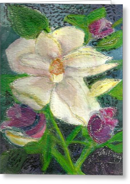 White Happy Flower Greeting Card by Anne-Elizabeth Whiteway