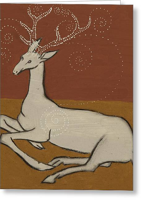 Harts Paintings Greeting Cards - White Hart Greeting Card by Sophy White