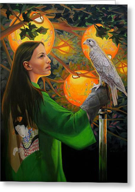 Night Hawk Greeting Cards - White Hawk Greeting Card by Pat Lewis