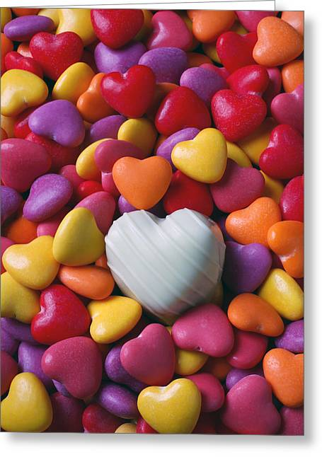 White Photographs Greeting Cards - White heart candy Greeting Card by Garry Gay
