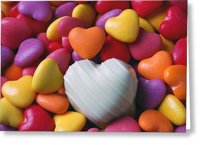 White heart candy Greeting Card by Garry Gay