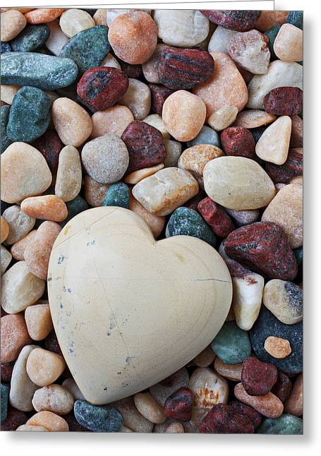 Geology Photographs Greeting Cards - White Heart Stone Greeting Card by Garry Gay