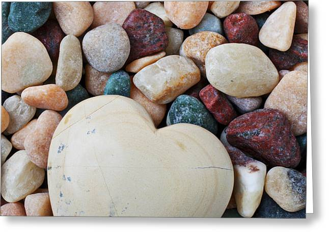 White Heart Stone Greeting Card by Garry Gay