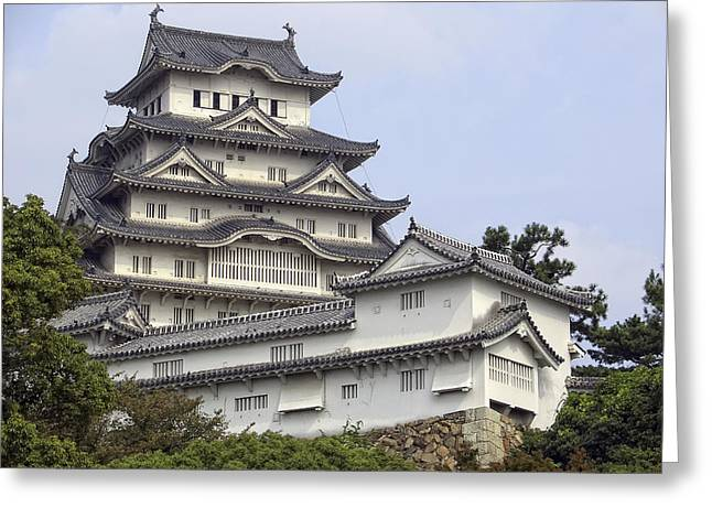 Kyoto Greeting Cards - White Heron Castle - Himeji City Japan Greeting Card by Daniel Hagerman