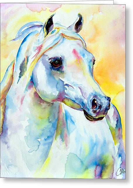 Equines Pastels Greeting Cards - White Horse Portrait Greeting Card by Christy  Freeman