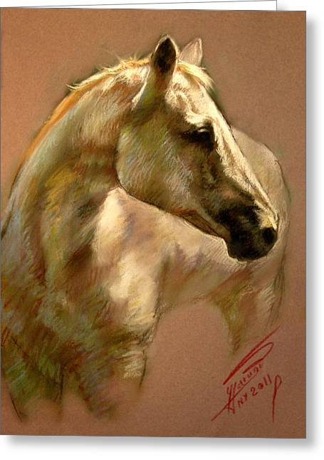 White Horse Pastels Greeting Cards - White Horse Greeting Card by Ylli Haruni