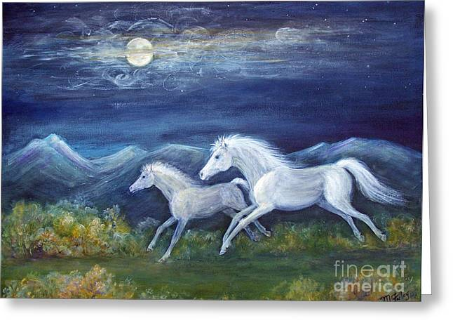 White Horses In Moonlight Greeting Card by Maureen Ida Farley