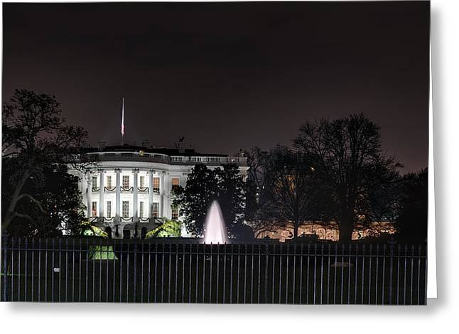Commander Greeting Cards - White House at Christmas Greeting Card by Metro DC Photography
